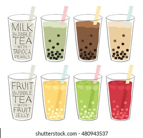 bubble tea recipes mixed with fruit or milk, with tapioca balls or fruit jellies