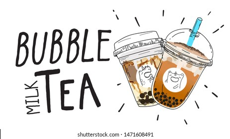 Bubble tea Special Promotions design, Pearl milk tea , Yummy drinks, coffees and soft drinks with logo and doodle style advertisement banner . - Vector