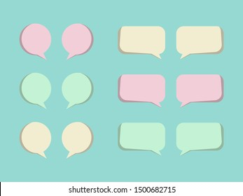 Bubble text speech pastel color vector eps 10 illustration. Sweet cute empty chat boxes set on soft green background.