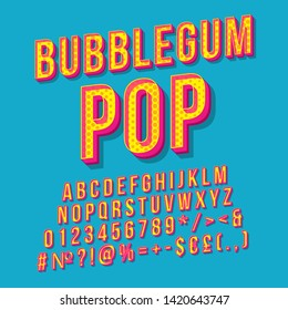 Bubblegum pop vintage 3d vector lettering. Retro bold font, typeface. Pop art stylized text. Old school style letters, numbers, symbols, elements. 90s, 80s poster, banner. Azure color background