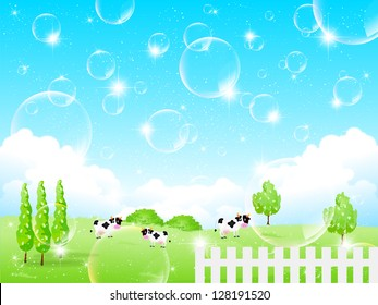 Bubbles background cattle ranch