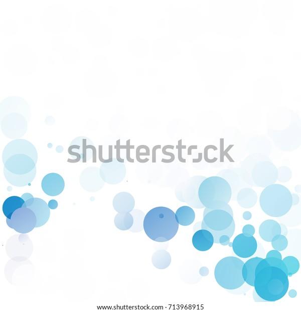 一意の青の明るいベクター画像の背景に泡円のドット