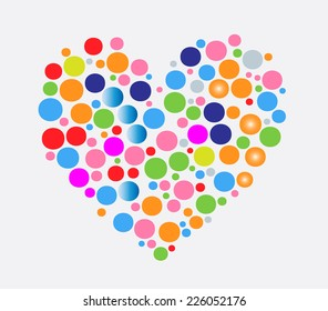bubbles in different colors and sizes in heart shape  - EPS 10 vector