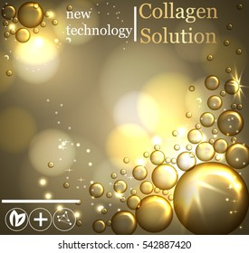 Bubbles oil Serum Skin Care Cosmetic.Collagen Sollution. Closeup Collagen Emulsion in Water. Vector Illustration. Concept for Cosmetics, Beauty and Spa Brochure or Flyer.