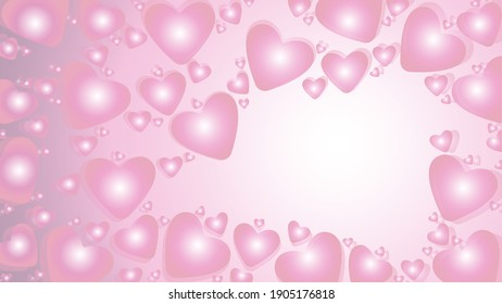 bubbles pink hearts, cute tender postcard, free space for wishes, heartfelt congratulations on a light background