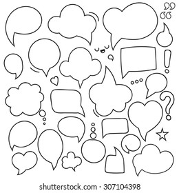 Bubbles set of isolated dialogues. Thought frame dialog comic.