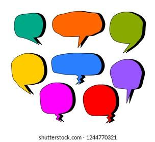 bubbles speech doodle set of different shapes and sizes colorful. empty comic. text box. conversation chat. Black line. vector illustration