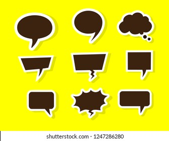 bubbles speech doodle set of different shapes and sizes colorful. empty comic. text box. conversation chat. information frame. Boom isolated. Talk balloon. Dream cloud. vector illustration