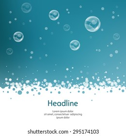 Bubbles with straw on blue background. Isolated. Vector illustration.