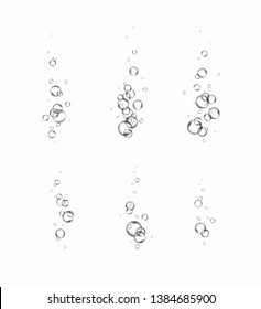 Bubbles underwater set isolated on white background. Vector pure gas, oxygen bubbles flying in air or under water. Realistic soda effect elements for your design.