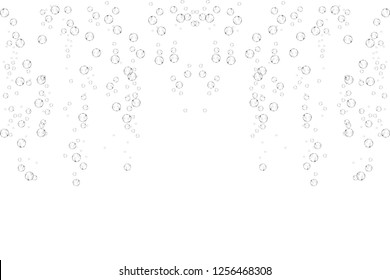 Bubbles underwater texture isolated on white background. Fizzy sparkles in water, sea, ocean. Undersea vector illustration.