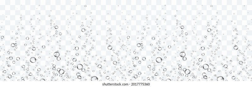 Bubbles underwater texture isolated on transparent background. Vector fizzy air, gas or oxygen under water seamless border. Realistic champagne drink, soda effect template