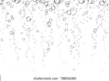 Bubbles underwater texture isolated on white background. Vector fizzy air, gas or clean oxygen bubbles under sea water. Realistic effervescent champagne drink, soda effect for your design