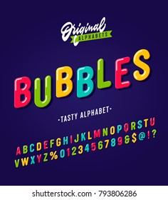 'Bubbles' Vintage Sans Serif Rounded Cartoon Alphabet. Colorful Retro Typography with Rich Colors. Child Style Typeface. Vector Illustration.