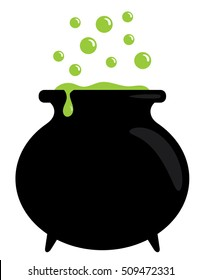 Bubbling Cauldron with Green Potion