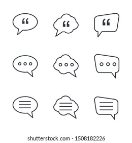 Buble Chat and quote icon template color editable. Buble Chat and quote symbol vector sign isolated on white background illustration for graphic and web design.
