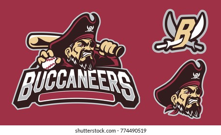 Buccaneer or Pirate Mascot Logo Design : Layered Vector Illustration - Easy to Edit
