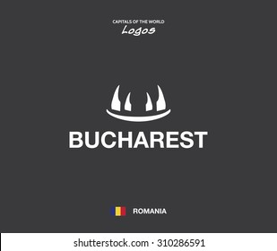 Bucharest - capitals of the world logo set