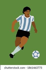 Bucharest, Romania, November 25, 2020: Diego Armando Maradona was a famous Argentine professional footballer and football manager