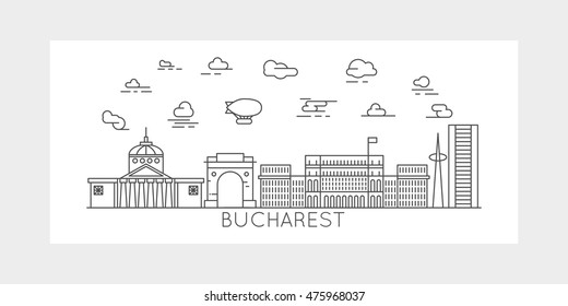 Bucharest Romania skyline silhouette line design linear art style