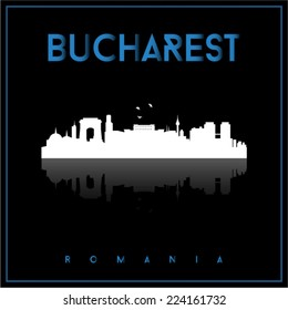 Bucharest, Romania, skyline silhouette vector design on parliament blue and black background.