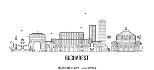Bucharest skyline, Romania. This illustration represents the city with its most notable buildings. Vector is fully editable, every object is holistic and movable