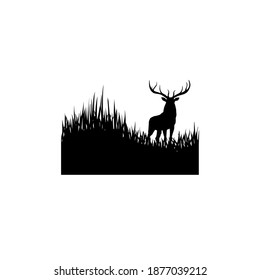 Buck and Grass Silhoutte Illustration Vector