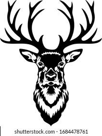 Buck head, Deer monogram, Isolated vintage illustration, Wild animal, Black buch head, Simple deer head vector, Big Antlers, Monograms,  Black and white silhouette isolated