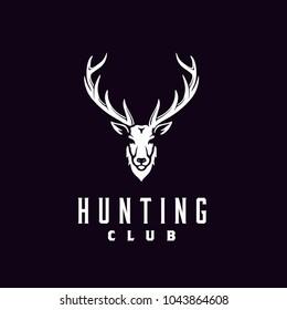 Buck Stag Deer Antler Hunting logo design inspiration