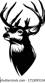 Buck Whitetail Deer Logo, Great for Your Logo Hunting Activity, Decal & Sticker.
