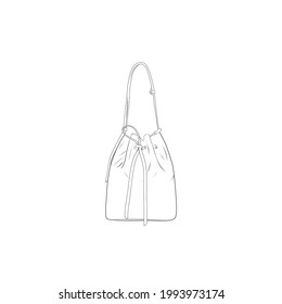 bucket bag outline drawing vector,bucket bag in a sketch style, bucket bag trainers template outline, vector Illustration.