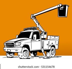 Bucket Boom Truck Cartoon illustration