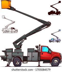 Bucket Boom Truck Side View. Cartoon Illustration