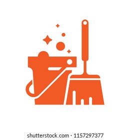 Bucket broom cleanliness vector icon