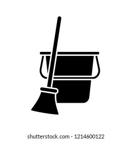 Bucket and broom glyph icon. Cleaning supply. Sweeping. Floor cleaning. Silhouette symbol. Negative space. Vector isolated illustration