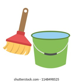 Bucket and broom  together symbolizing floor cleaning concept