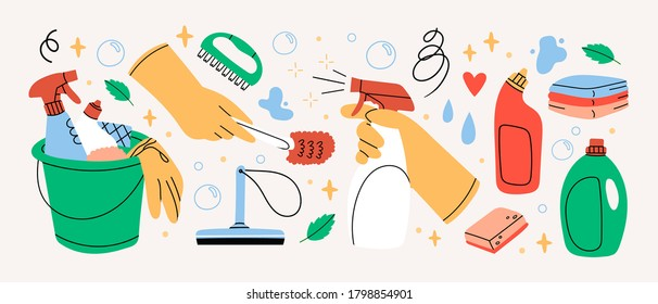 Bucket with cleaning supplies, bottles, spray, sponge, brush, gloves. Various Cleaning items. Housework concept. Hand drawn Vector illustrations. All elements are isolated