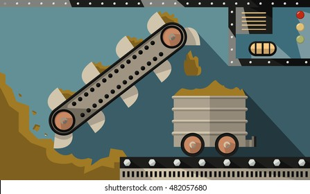 bucket conveyor dig ore and load it into the trailer. Mining and heavy industry. Vector Illustration