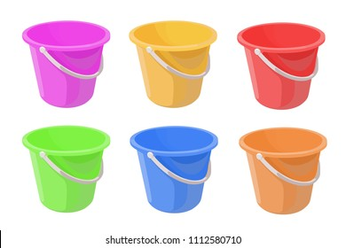 bucket different color set vector