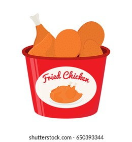 Bucket of fried chicken, tasty fast food. Whole meat, made in cartoon flat style.