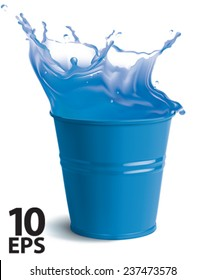 Bucket full of clear water with splashes. Isolated vector illustration