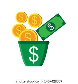 Bucket Full Money Dollar coins