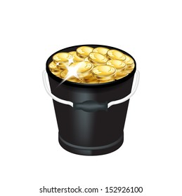 bucket with golden coins