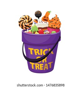 Bucket with Halloween sweets and candies. Holiday vector illustration.