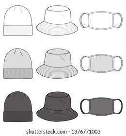 Bucket Hat, Beanie, Mask Fashion Flat Templates