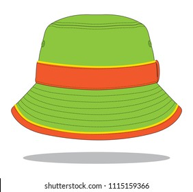 Bucket Hat Design : Green / Orange