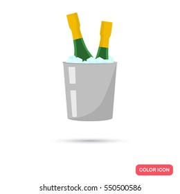 A bucket with ice and champagne bottles color flat icon