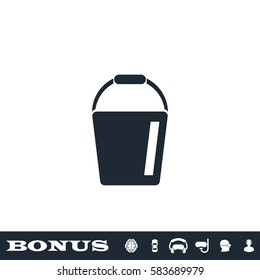 Bucket icon flat. Black pictogram on white background. Vector illustration symbol and bonus button