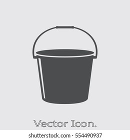 Bucket icon isolated sign symbol and flat style for app, web and digital design. Vector illustration.
