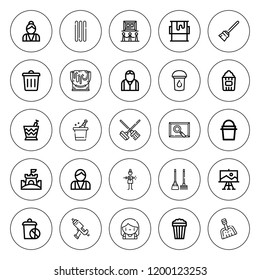 Bucket icon set. collection of 25 outline bucket icons with bartender, cleaning, broom, bin, caulk gun, dustpan, french stick, paint, painting, popcorn icons. editable icons.
